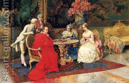 The Chess Players by Giulio Rosati - Reproduction Oil Painting