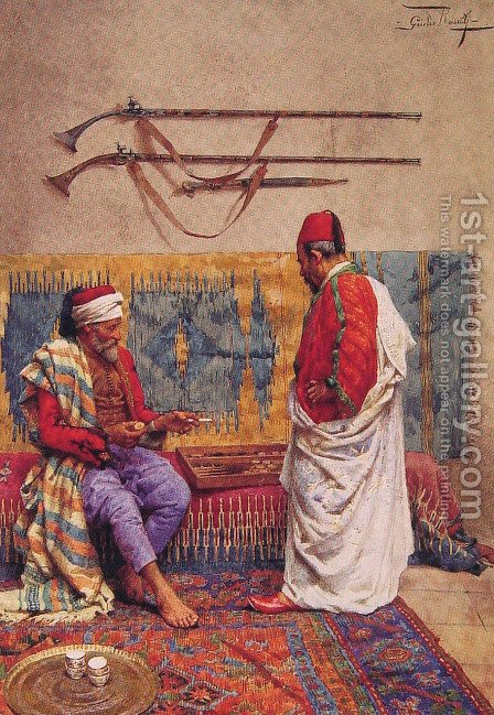 A Game Of Backgammon by Giulio Rosati - Reproduction Oil Painting