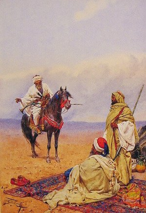 Famous paintings of Horses & Horse Riding: A Horseman Stopping At A Bedouin Camp
