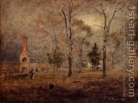 George Inness: Gray Day  Goochland  Virgnia - reproduction oil painting