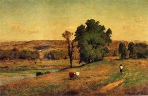 Reproduction oil paintings - George Inness - Landscape With Figure