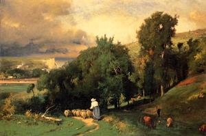 Reproduction oil paintings - George Inness - Hillside At Etretet