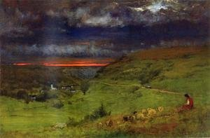 Reproduction oil paintings - George Inness - Sunset At Etretat