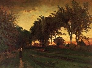 Reproduction oil paintings - George Inness - Evening Landscape