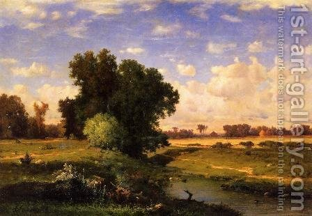 Hackensack Meadows  Sunset by George Inness - Reproduction Oil Painting