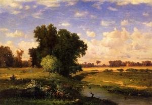 Reproduction oil paintings - George Inness - Hackensack Meadows  Sunset