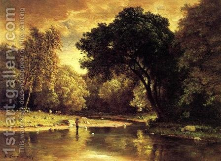 Fisherman In A Stream by George Inness - Reproduction Oil Painting