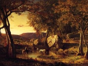 Reproduction oil paintings - George Inness - Summer Days  Cattle Drinking Late Summer  Early Autumn