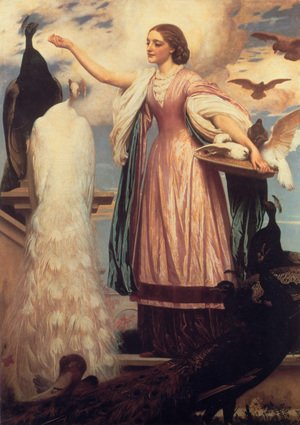 Reproduction oil paintings - Lord Frederick Leighton - A Girl Feeding Peacocks