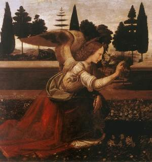 Renaissance - High painting reproductions: Annunciation (detail 1) 1472-75
