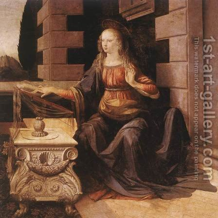 Leonardo Da Vinci: Annunciation (detail 2) 1472-75 - reproduction oil painting