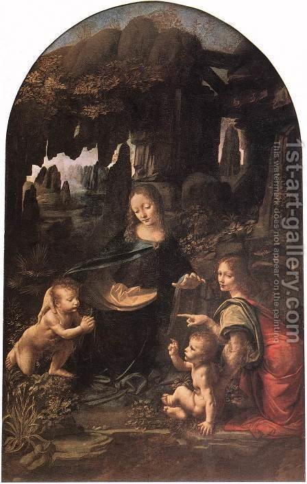 Leonardo Da Vinci: Virgin of the Rocks 1483-86 - reproduction oil painting