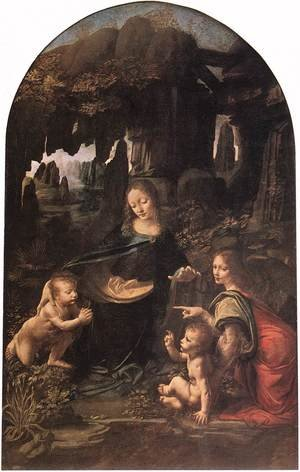 Famous paintings of Religion & Philosophy: Virgin of the Rocks 1483-86