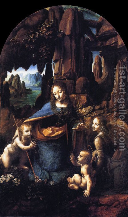 Virgin of the Rocks 1495-1508 by Leonardo Da Vinci - Reproduction Oil Painting