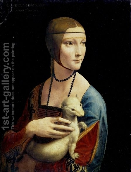 Leonardo Da Vinci: Portrait of Cecilia Gallerani (Lady with an Ermine) 1483-90 - reproduction oil painting