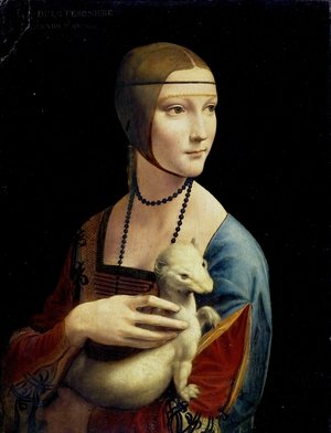 Renaissance - High painting reproductions: Portrait of Cecilia Gallerani (Lady with an Ermine) 1483-90