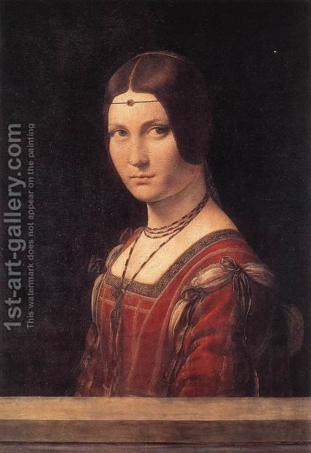 Leonardo Da Vinci: La belle Ferroniere c. 1490 - reproduction oil painting