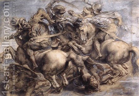 Leonardo Da Vinci: The Battle of Anghiari (detail) 1503-05 - reproduction oil painting