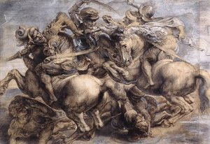 Famous paintings of Fantasy, Mythology, Sci-Fi: The Battle of Anghiari (detail) 1503-05