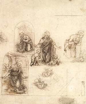 Reproduction oil paintings - Leonardo Da Vinci - Studies For A Nativity