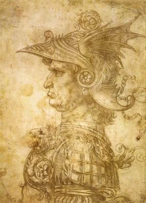 Reproduction oil paintings - Leonardo Da Vinci - Profile Of A Warrior In Helmet