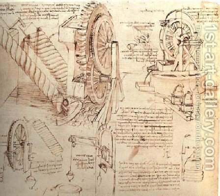 Drawings Of Water Lifting Devices by Leonardo Da Vinci - Reproduction Oil Painting