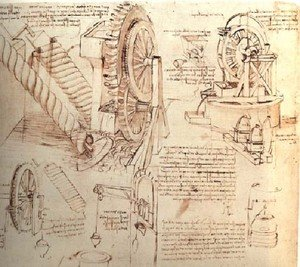 Reproduction oil paintings - Leonardo Da Vinci - Drawings Of Water Lifting Devices