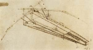 Reproduction oil paintings - Leonardo Da Vinci - Drawing Of A Flying Machine