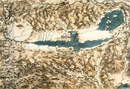 Map Of Tuscany And The Chiana Valley by Leonardo Da Vinci - Reproduction Oil Painting