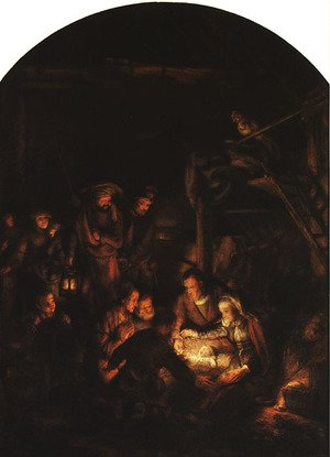 Reproduction oil paintings - Rembrandt - Adoration of the Shepherds 1646