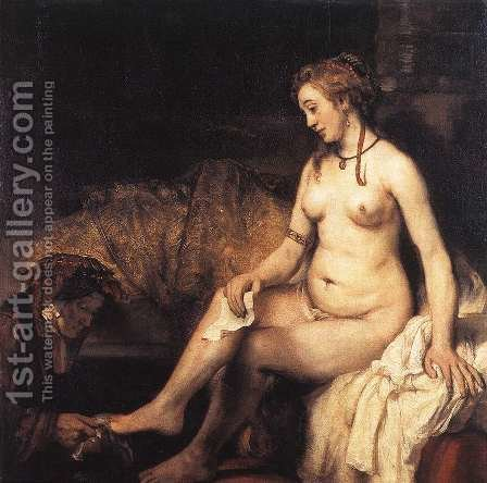 Bathsheba at Her Bath 1654 by Rembrandt - Reproduction Oil Painting
