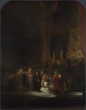 Reproduction oil paintings - Rembrandt - Christ and the Woman Taken in Adultery 1644