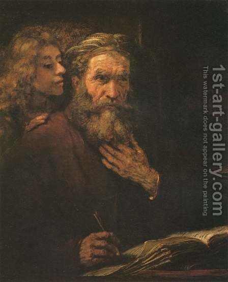 Evangelist Matthew and the Angel 1661 by Rembrandt - Reproduction Oil Painting