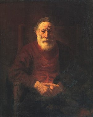Famous paintings of Men: Portrait of an Old Man in Red 1652-54