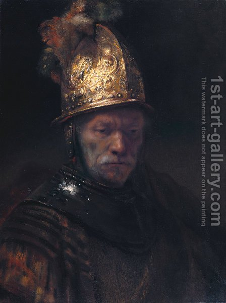 Rembrandt: Man in a Golden Helmet c. 1650 - reproduction oil painting