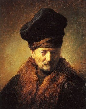 Famous paintings of Men: Bust of an Old Man in a Fur Cap 1630