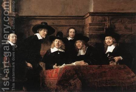 Rembrandt: Sampling Officials of the Drapers' Guild 1662 - reproduction oil painting