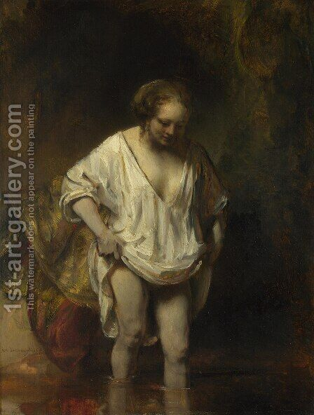 Hendrickje Bathing in a River 1654 by Rembrandt - Reproduction Oil Painting