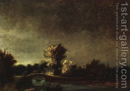Landscape with a Stone Bridge c. 1637 by Rembrandt - Reproduction Oil Painting