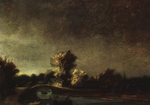Reproduction oil paintings - Rembrandt - Landscape with a Stone Bridge c. 1637