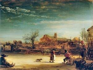 Reproduction oil paintings - Rembrandt - Winter Landscape 1646