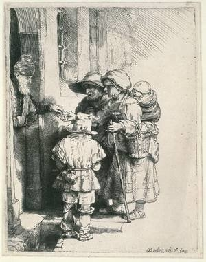 Reproduction oil paintings - Rembrandt - Beggars Receiving Alms at the Door of a House 1648