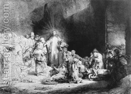 Rembrandt: The Little Children Being Brought to Jesus, The 100 Guilder Print 1647-49 - reproduction oil painting
