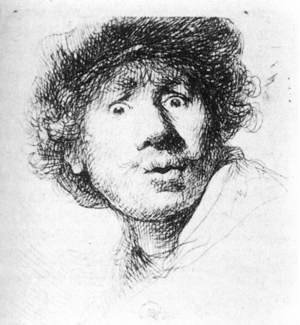 Reproduction oil paintings - Rembrandt - Self-Portrait, Staring 1630