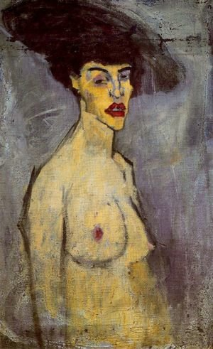 Expressionism painting reproductions: Female Nude With Hat