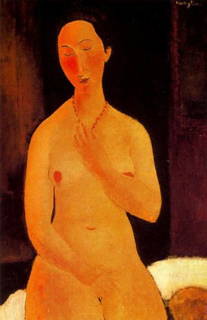 Expressionism painting reproductions: Seated Nude With Necklace