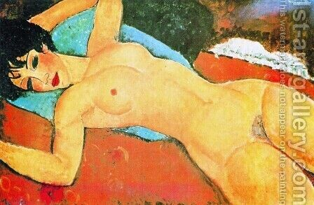 Amedeo Modigliani: Sleeping Nude With Arms Open   Red Nude - reproduction oil painting