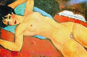 Amedeo Modigliani reproductions - Sleeping Nude With Arms Open   Red Nude