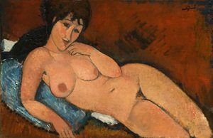 Reproduction oil paintings - Amedeo Modigliani - Nude On A Blue Cushion