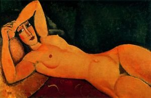 Expressionism painting reproductions: Reclining Nude With Left Arm Resting On Forehead
